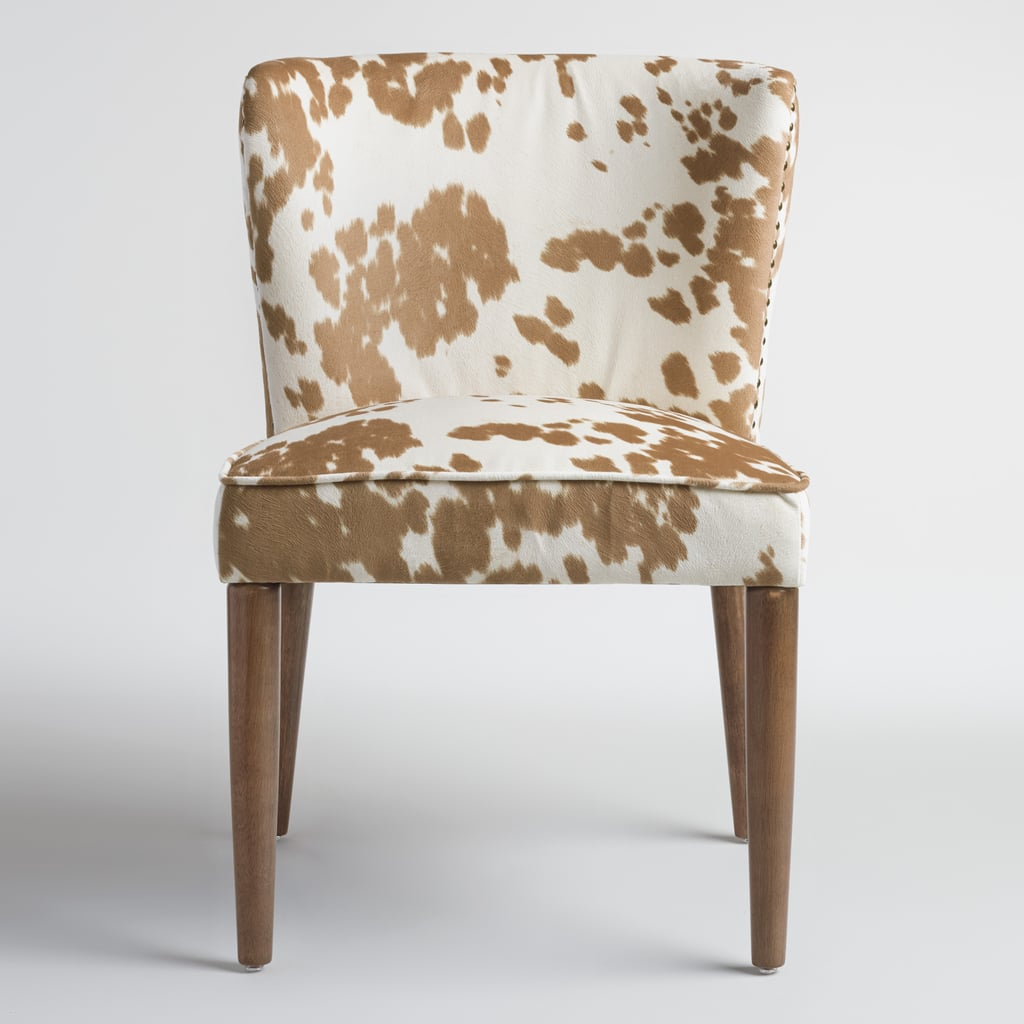Cost Plus World Market Fall 2016 Collection: Tan-Hued Cow Print Upholstery Chair ($300 For Set Of 2