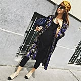 A Black T-Shirt Dress, Leggings, Flats, a Kimono Jacket, and a Turban