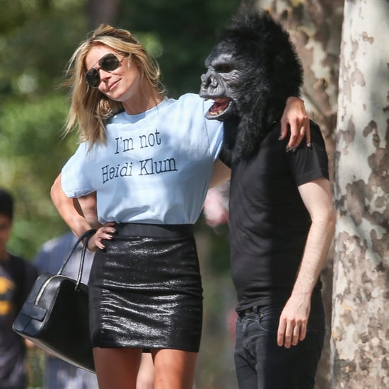 Heidi Klum Posing With a Man in a Gorilla Mask