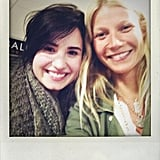 Gwyneth Paltrow and Demi Lovato wore matching army-inspired jackets during an airport meet-up. Source: Twitter user GwynethPaltrow