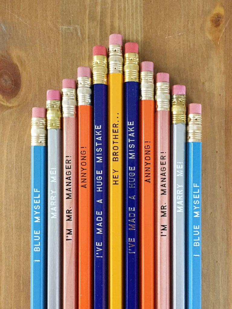 Writing tools covered in tastefully witty TV references.