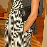 An understated silhouette gets a boost via a Fab print and jewels at an event in July '06.