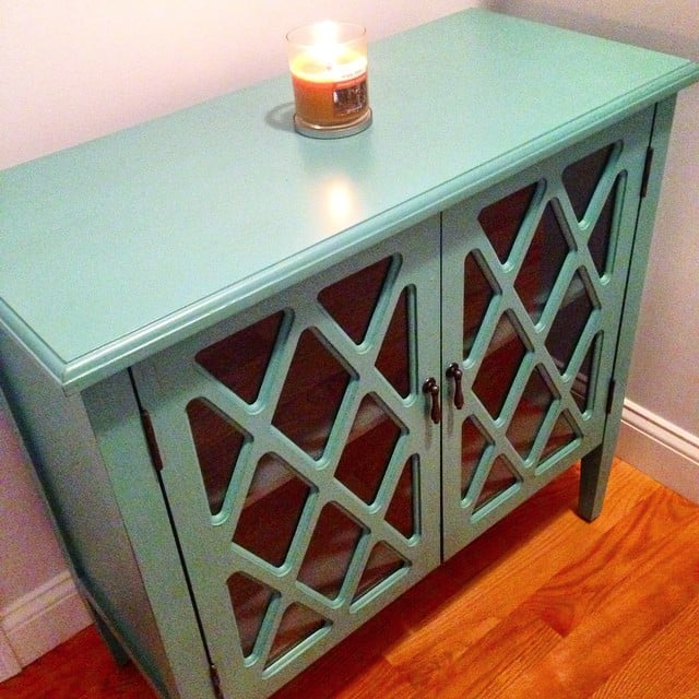The find: a turquoise cabinet that could hold just about anything . . . stylishly!