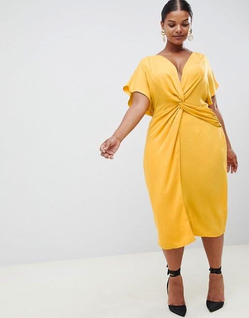60b26f2a27da ASOS Design Curve Twist Midi Dress With Kimono Sleeve | Fall Wedding ...
