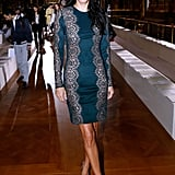 Angie Harmon's lace-detailed mini-dress showed off her svelte figure at Stella McCartney's show.