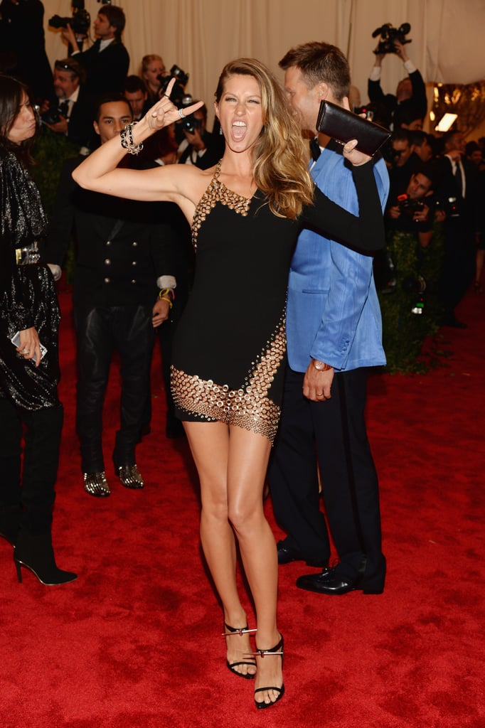 Gisele Bündchen showed off her toned body in an asymmetrical Anthony Vaccarello LBD with metal hook detailing.