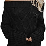 Astylish Knitted Off-the-Shoulder Oversized Sweater in Black