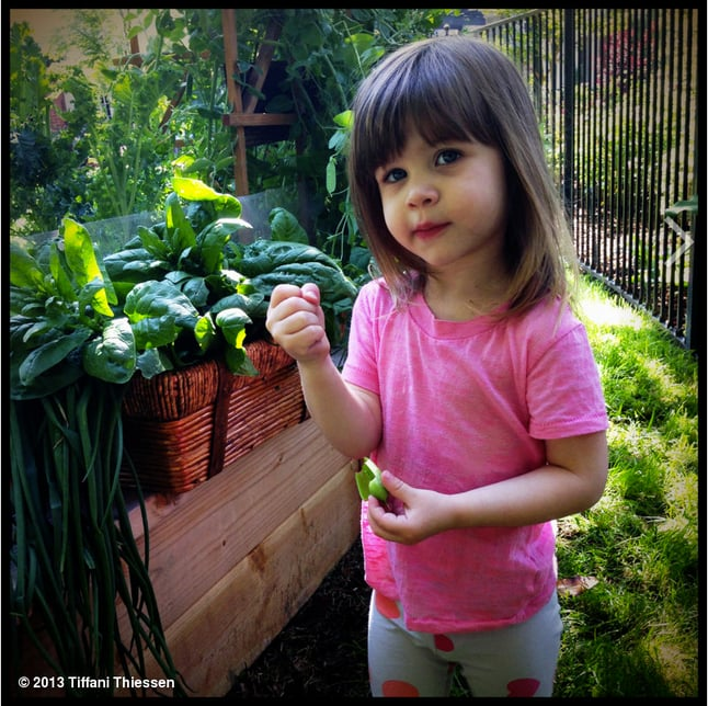 Little Harper Smith enjoyed some fresh-from-the-garden strawberries. Source: TiffaniThiessen.com