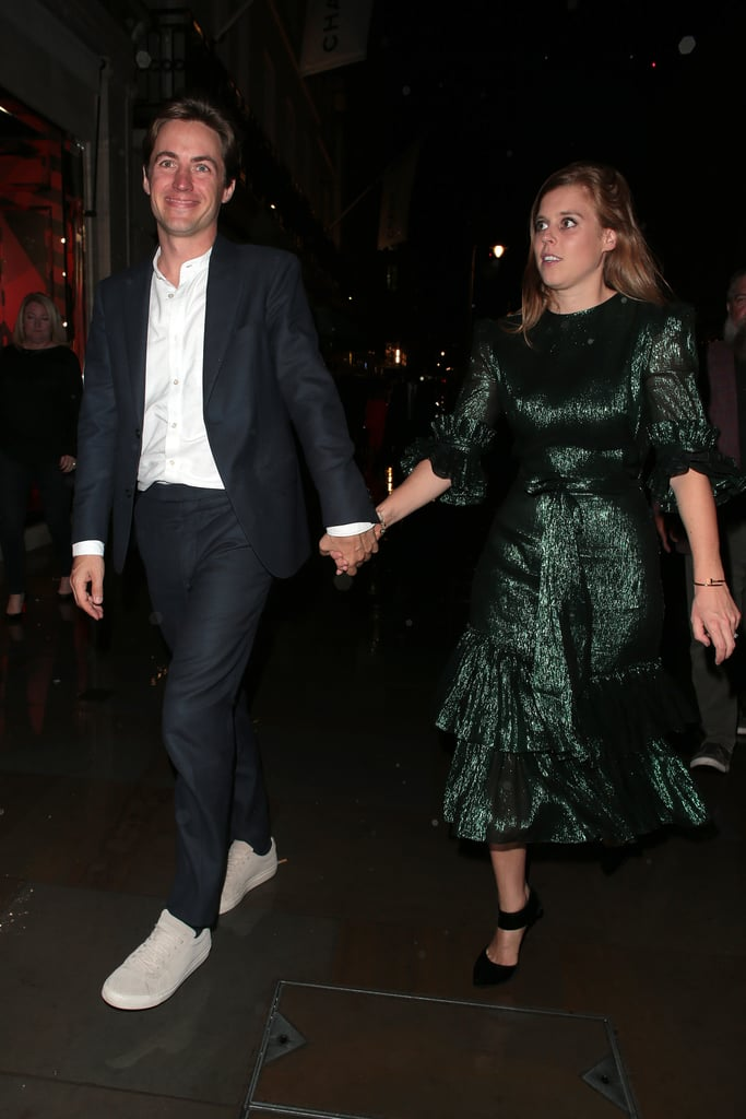 Princess Beatrice is getting married! The 31-year-old got engaged to Edoardo Mapelli Mozzi after a year of dating in September, and on Tuesday night, the couple were spotted together for the first time since the announcement was made. Beatrice and Edoardo looked stylish as they held hands and made their way to a Dior book launch party in London. Beatrice dazzled in an emerald dress, while the 36-year-old property developer donned a crisp suit.  Beatrice and Edoardo first got together in September 2018, but it wasn't until six months later that they made their debut as a couple at the Portrait Gala in London. Edoardo popped the question with a custom three-diamond ring during a weekend getaway in Italy. Details about their wedding are still pretty scarce at the moment, but we do know it will take place sometime in 2020. Congrats again to Beatrice and Edoardo!        Related:                                                                                                           Princess Beatrice Doesn't Need the Queen's Permission to Get Married, and That's That on That