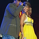 Jay Z and Beyoncé shared the stage during the first day of the London's Prince's Trust Urban Music Festival in May 2004.