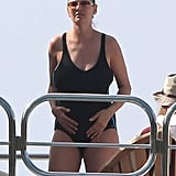 Pregnant Uma Thurman Makes a Splash in a Suit While Yachting