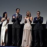 Liam Neeson, Rihanna, Alexander Skarsgard, Brooklyn Decker, and Taylor Kitsch shared the stage at the LA premiere of Battleship.