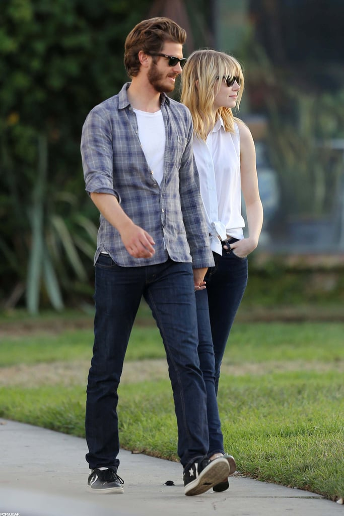 Emma Stone and Andrew Garfield cuddled close during a star-studded Hollywood Forever Cemetery Tour in LA on Saturday. January Jones and Christina Hendricks were also along for the event, which was hosted by Karie Bible. Later in the day, Emma and Andrew hit the gym and went out on a date night together. Andrew is sporting quite the beard between projects, but he'll have to lose the scruff when they get back to work together on The Amazing Spider-Man 2. Emma, Andrew, and the director have all signed on for the sequel to their Summer blockbuster, which is currently in preproduction. Even between projects, Emma is a red carpet regular, and in early 2013 she'll be out to promote Gangster Squad alongside another handsome costar, Ryan Gosling.