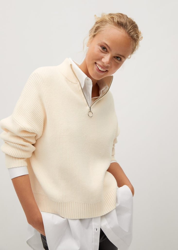 Mango Zip Neck Jumper