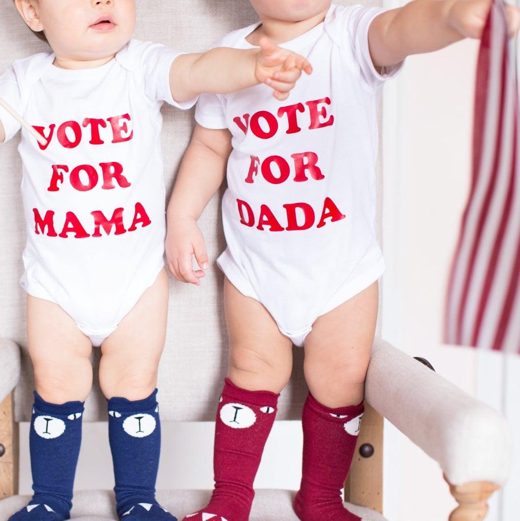 """Vote For Mama/Vote For Dada"" Onesie Set"