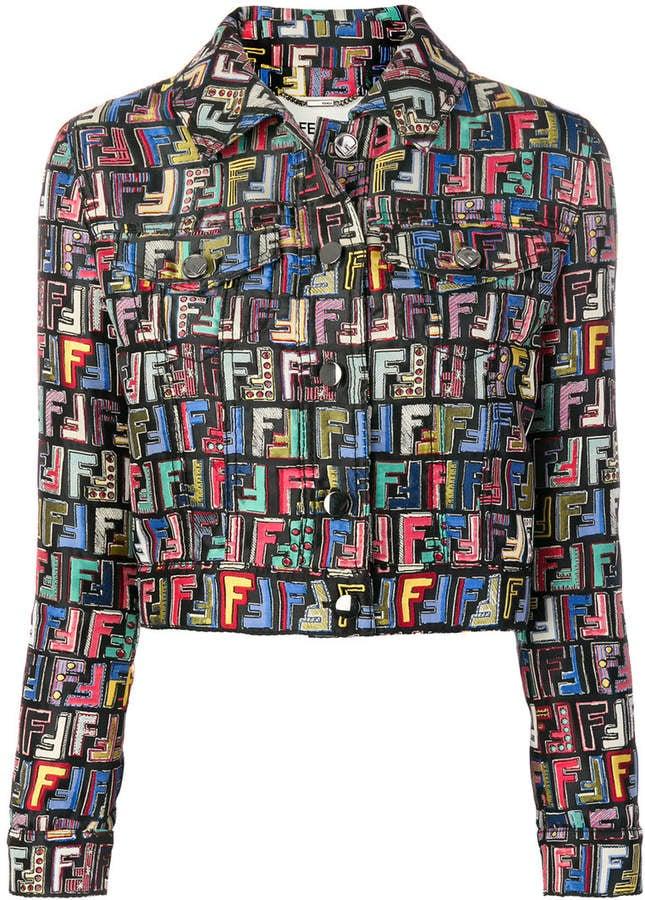 f1a73a7905219b Fendi FF Logo Printed Jacket