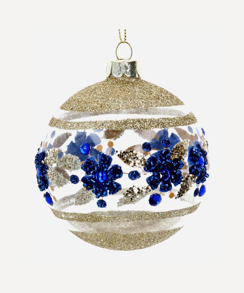 Liberty London Glass Glitter Floral Bauble