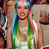 Cardi B With Rainbow Curtain Bangs