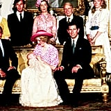 Prince William posed with mum Princess Diana, dad Prince Charles, and other members of the royal family at his christening on Aug. 4, 1982.
