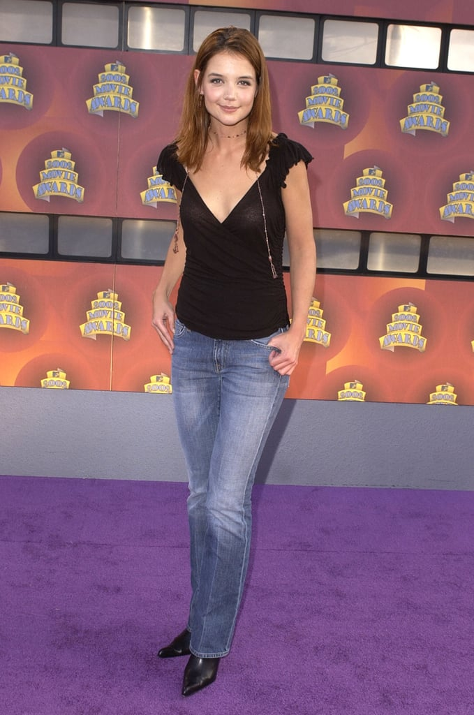 In 2002, Katie Holmes walked the purple carpet of the MTV Movie Awards.