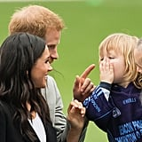 When He Jokingly Scolded a Kid For Pulling Meghan's Hair