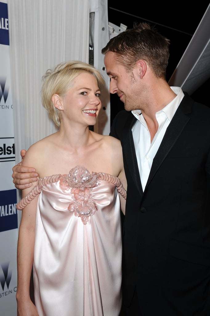 Blue Valentine costars Ryan Gosling and Michelle Williams shared a hug at their Cannes Film Festival afterparty in May of 2010.