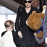 Angelina Jolie walking in Amsterdam with Shiloh.