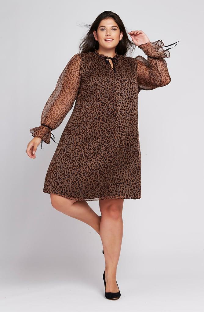 CeCe Leopard Ruffle-Sleeve Shift Dress