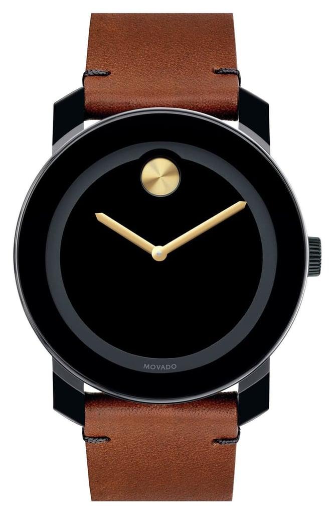 Movado Bold Leather Strap Watch