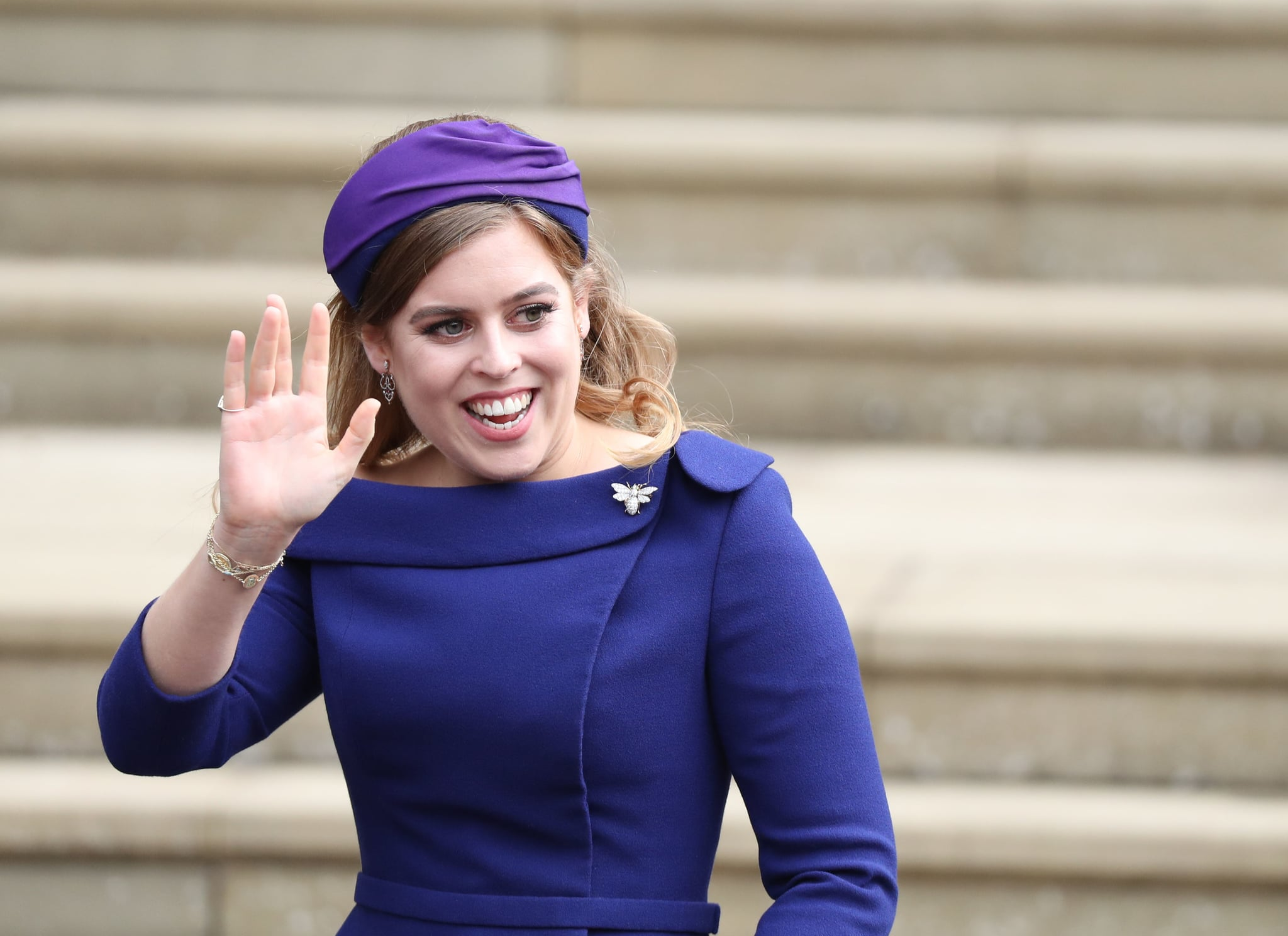 WINDSOR, ENGLAND - OCTOBER 12: Princess Beatrice of York arrives ahead of the wedding of Princess Eugenie of York to Jack Brooksbank at Windsor Castle on October 12, 2018 in Windsor, England. (Photo by Steve Parsons - WPA Pool/Getty Images)