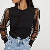 Puff-Sleeved Ribbed Top