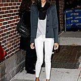 Zoe worked a cool casual look in NYC.