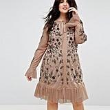 Frock and Frill Allover Premium Embellished Fluted Hem Detail Skater Dress