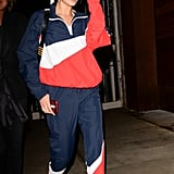 Bella Hadid Wearing a Red, White, and Blue Tracksuit