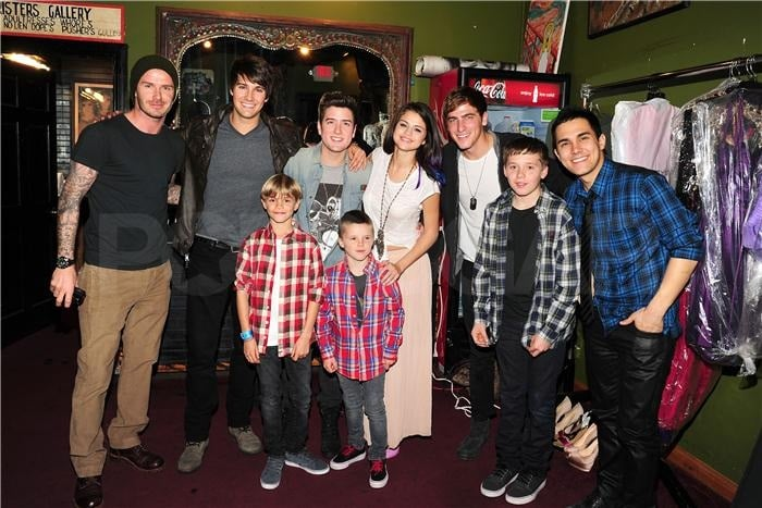 Selena Gomez and Big Time Rush posed backstage before the concert with David, Romeo, Cruz, and Brooklyn Beckham.