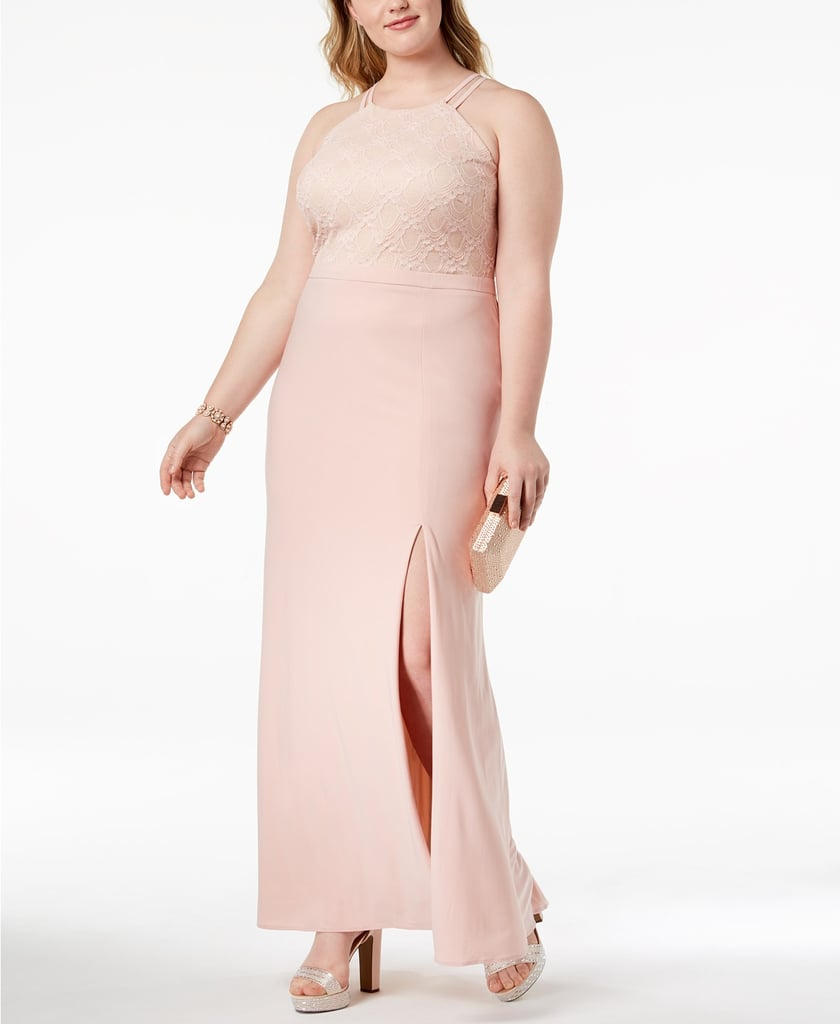 Morgan & Company Lace-Bodice Halter Gown