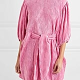 Ganni belted plissé-satin mini dress