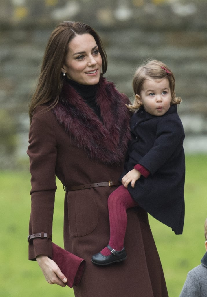 The Color of the Coat Even Matched With Her Daughter's Burgundy Tights
