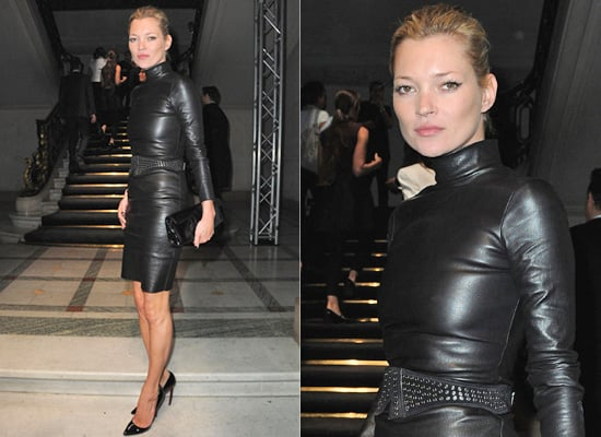 Kate Moss at Paris Fashion Week in Leather Dress