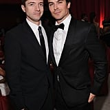Ian Somerhalder and Topher Grace hung out at Elton John's Oscar party.
