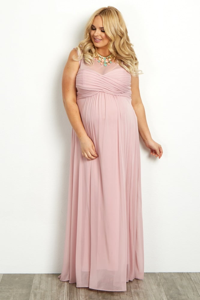 Light Pink Mesh Neckline Ruched Bust Plus Maternity Evening Gown ...