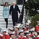 Melania Trump Wearing a Blue Burberry Coat