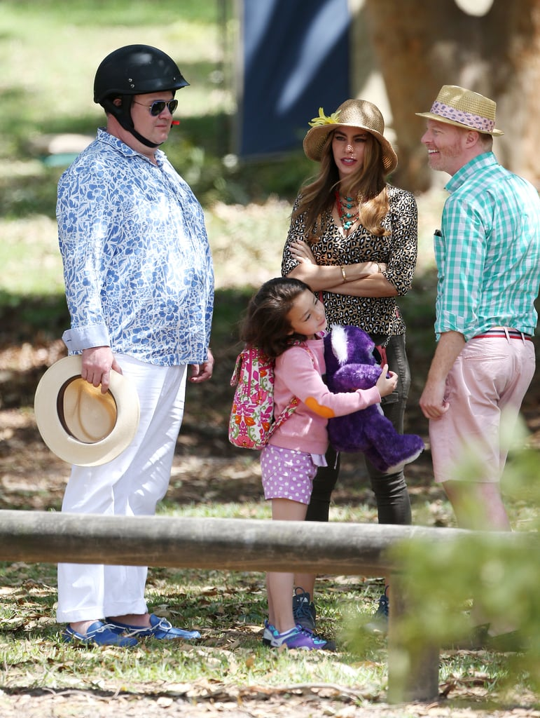 Eric Stonestreet wore protective headwear during a bush scene on Feb. 21, with Aubrey Anderson-Emmons, Sofia Vergara and Jesse Tyler Ferguson.