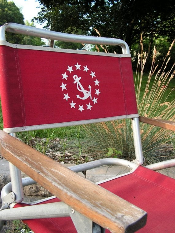 Anchors Away Red Canvas Folding Chair