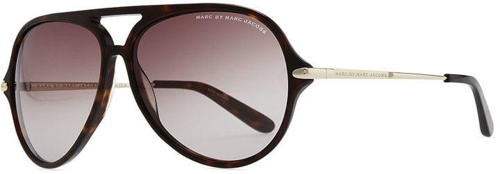 Marc by Marc Jacobs Tortoise Plastic Aviator Sunglasses, Dark Brown ($110)