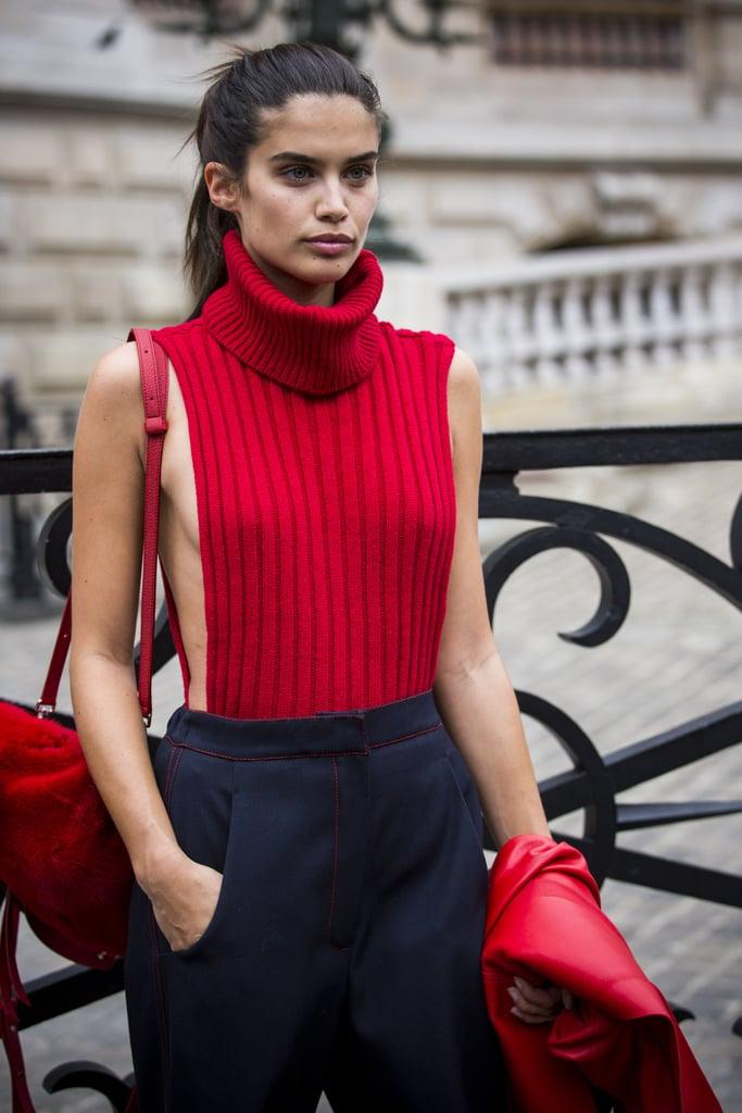 Sara Sampaio Wearing a Revealing Red Turtleneck