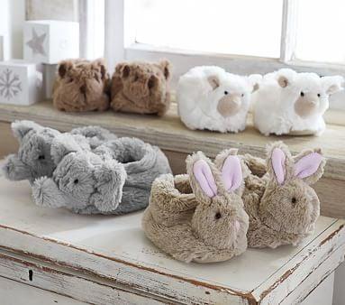 Nursery Faux-Fur Animal Slippers