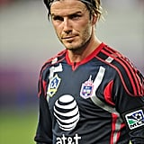 David Beckham with long hair.