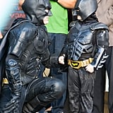 "Batman and Batkid stopped to talk strategy during their big day in ""Gotham City."""