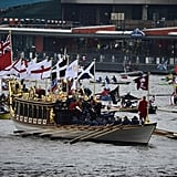 Boats floated down the river as part of the pageant.